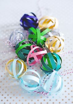 DIY paper balls make great ornaments or gift toppers.