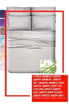 6 Piece Bamboo Sheets Queen Bamboo Sheets – 100% Organic Bamboo Bed Sheets Queen Sheet Set Cooling Sheets Queen Size Sheets Deep Pocket Queen Sheets Queen Bed Sheets Queen Size Cool Sheets Light Gray #grays