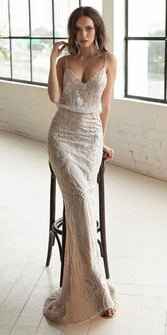 "18 Julie Vino 2019 Wedding Dresses -""The Love Story"" ❤️ nude sheath lace sweetheart neck spaghetti straps julie vino 2019 wedding dresses ❤️ Full gallery: https://weddingdressesguide.com/julie-vino-2019-wedding-dresses/ #bridalgown #weddingdresses2019 #wedding #bride"