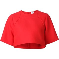 Rosie Assoulin cropped blouse ($1,525) ❤ liked on Polyvore featuring tops, blouses, red, red crop top, red blouse, cotton blouses, red top and crop top