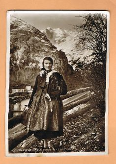 Valle D'Aosta ~ Traditional Costume ~ Italy  1935 Postcard ~ Valle d'Aosta, a region of northwest Italy, in the Western Alps, is known for its snow-capped mountains, Roman monuments and medieval castles. The area is bordered by France and Switzerland.