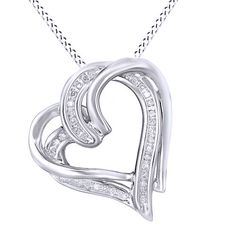 """925 Sterling Silver & Real Diamond Double Heart Pendant Necklace (1/10 cttw),18"""" #affinityjewelry #HeartPendant"""