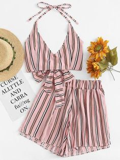 Shop Knot Back Striped Halter Top With Shorts online. SHEIN offers Knot Back Striped Halter Top With Shorts & more to fit your fashionable needs. Teen Fashion Outfits, Outfits For Teens, Stylish Outfits, Trendy Fashion, Girl Outfits, Womens Fashion, Cute Summer Outfits, Cute Outfits, Beauty And Fashion