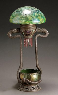 Austrian Art Nouveau 'Jewel' Bronze 'Serpent' Table Lamp - The Shade, Attributed to Loetz; The Base, In the Manner of Gustav Gurschner, Circa 1900