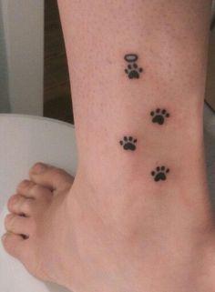 Trendy Ideas For Dog Tattoo Memorial Halo Mini Tattoos, Cute Thigh Tattoos, Small Dog Tattoos, Cat Paw Tattoos, Pretty Tattoos, Animal Tattoos, Cute Tattoos, Unique Tattoos, Beautiful Tattoos