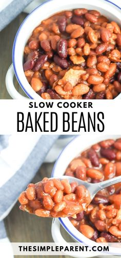 Baked Beans Recipe Slow Cooker. Make this easy baked beans recipe the next time you're entertaining or when you're craving the sweet taste of homemade baked beans with bacon! It's a perfect side dish! Make your BBQ cooking easier by having your beans side dish in the crockpot ready to go when everything else comes off the grill.  Baked beans are easy and delicious! #bakedbeans #slowcooker #sidedish Simple Baked Beans Recipe, Baked Beans Crock Pot, Slow Cooker Baked Beans, Homemade Baked Beans, Baked Bean Recipes, Best Crockpot Recipes, Uk Recipes, Kitchen Recipes, Side Dish Recipes