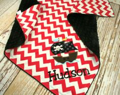 Personalized Pirate Ship Blanket - You Pick Fabrics and Colors