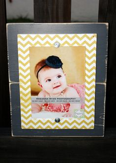Distressed Grey & Yellow Chevron 5 x 7 Picture Frame