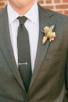 Anchor tie bar | Rachel & Ben's Lace Factory Connecticut Wedding | Sweet Little Photographs
