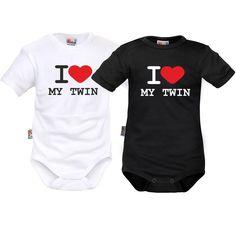 2 bodys bébé jumeaux: I love my twin - Jumeaux jumelles - SiMedio