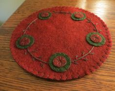 Red and Green Penny Rug