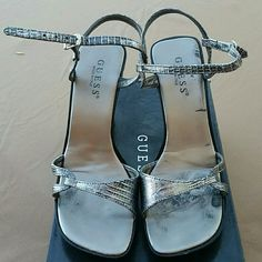 Black And Silver/Gray Guess Women'S Shoes Size 8m