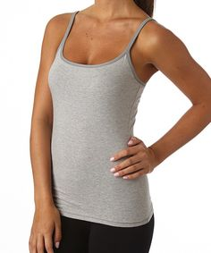 Women's Everyday Heather Grey Shelf-Bra Camisole. Super soft organic cotton basics in classic colors for any day of the week!