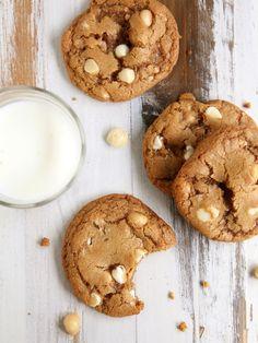 Toffee White Chocolate Macadamia Nut Cookies   completelydelicious.com