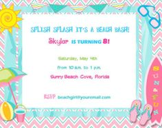 sandcastle birthday invitation | Beach Invitation Birthday Party Bab y Shower Digital DIY ...