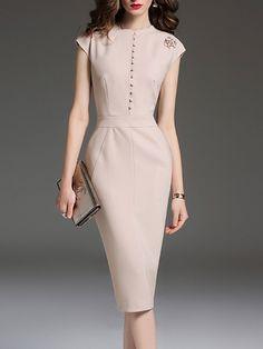 #AdoreWe #StyleWe Midi Dresses❤️Designer MULTIFLORA Apricot Elegant Solid Sheath Crew Neck Midi Dress - AdoreWe.com