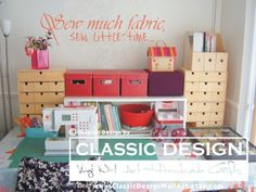 Vinyl Wall Decal  Sew much FABRIC Sew Little TIME by DecalDrama,