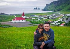 Overlooking the town of Vik with Reynisdrangar (sea stacks) and Reynisfjall (mountain) in background