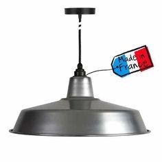 Suspension atelier aluminium - suspension design - lampe industrielle Suspension Metal, Suspension Design, Lustre Design, Style Loft, Luminaire Design, Ceiling Lights, Lighting, Home Decor, France