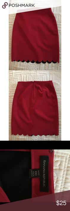 Banana republic pencil skirt Red petite pencil skirt 00 Banana Republic Skirts Pencil