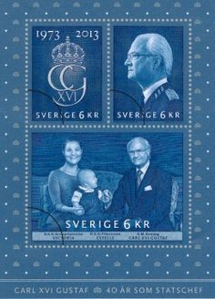 Here is the stamp issued by the Swedish Post to mark the 40th anniversary of the reign of King Carl Gustav. The sovereign is immortalized with Crown Princess Victoria and Princess Estelle .
