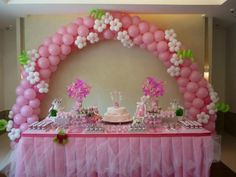 Pink and flowers arch