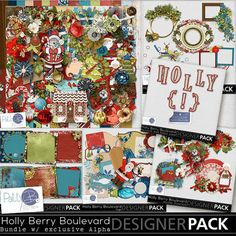 Lots of Christmas goodness, with ornamented houses to line the boulevard.  Holly and berries for a special holiday touch.  There are vintage elements and a bit of whimsy as well.  A super collection for scrapping your Christmas photos with family and friends.