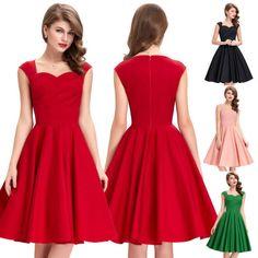 Womens-Vintage-Style-1940s-Retro-Retro-Party-Swing-Bridesmaid-Dress