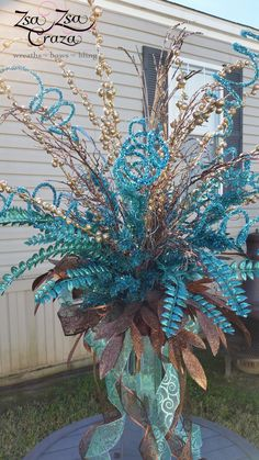 Custom order for a tree topper in teal and chocolate brown. www.Facebook.com/zsazsacraza Peacock Christmas Tree, Turquoise Christmas, Christmas Tree Tops, Christmas Topper, Christmas Flowers, Retro Christmas, Xmas Tree, Christmas Crafts, Christmas 2016