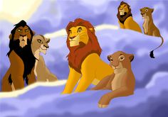 Ahadi/Uru, Mufasa/Sarabi, & Scar/Zira in The Lion King heaven Simba Disney, Old Disney, Disney Lion King, Disney And Dreamworks, Disney Art, Lion King Simba's Pride, Lion King 3, Lion King Fan Art, Lion King Movie