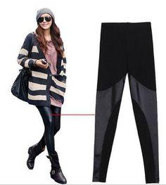 LOCOMO Women Faux Leather Mesh Inset Ankle Length « Clothing Impulse