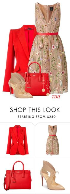 """""""Floral Dress"""" by talvadh ❤ liked on Polyvore featuring Alexander McQueen, Adrianna Papell, Kate Spade, Christian Louboutin and Cloverpost"""