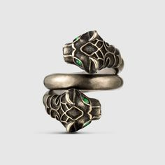 Gucci tiger head ring in metal with an aged palladium finish. The tiger eyes are green Swarovski crystals. Gold And Silver Bracelets, Silver Rings With Stones, Silver Jewelry, Silver Charms, 925 Silver, Silver Earrings, Sterling Silver, Crystal Jewelry, Boho Jewelry