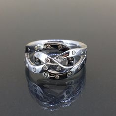 14k White gold natural White & Color Diamond Knotted Modern Band ring .24ctw by crystalanchor on Etsy