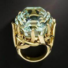 70 Carats Hexagonal Unheated Aquamarine Ring - July 13 2019 at Aquamarine Jewelry, Diamond Jewelry, Silver Jewelry, Vintage Jewelry, Jewelry Accessories, Fine Jewelry, Jewelry Necklaces, Silver Ring, Antique Jewelry