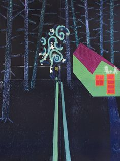 Tom Hammick ~  Night Cabin, 2014, reduction woodcut in 4 parts, approx 64 x 48 inches, edition AP #2 of 2