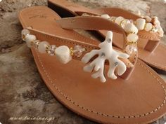 White Coral Bridal Handmade Leather Sandals