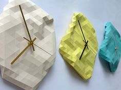 Image of Faceted Wall Clock - White