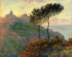 The Church at Varengeville against the Sunset Claude Monet art for sale at Toperfect gallery. Buy the The Church at Varengeville against the Sunset Claude Monet oil painting in Factory Price. Monet Paintings, Impressionist Paintings, Landscape Paintings, Impressionism Art, Claude Monet, Artist Monet, Camille Pissarro, Pierre Auguste Renoir, Edgar Degas