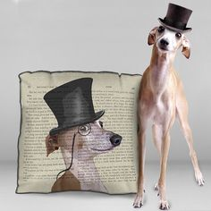 Greyhound pillow cover Greyhound cushion cover  by FabFunkyPillows