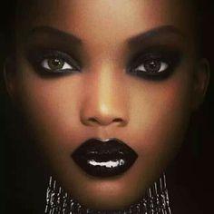 Smokey eye and dark lips