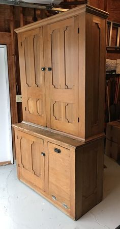 This is a great looking antique step back cabinet. It has a wonderful patina and is made of solid pine wood. Two piece construction. There is also a pull-out grain bin which comes in handy for many things around the kitchen including potatoes, and other dry goods. | eBay!
