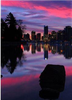 Vancouver's Coal Harbour at sunrise, British Columbia, Canada