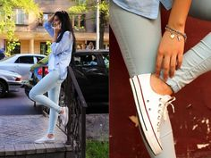 Baby blue look Skinny Jeans Converse, Thomas Sabo, Fashion Bracelets, Baby Blue, Topshop, Charmed, Shirts, Life, Style