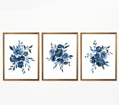 Set of 3 Watercolor Rose Wall Art Prints, Pink Flower Painting, Blush Floral Posters, Most Popular Item, Bedroom Wall Decor Handmade Artwork Watercolor Walls, Watercolor Rose, Watercolor Paintings, Abstract Watercolor, Blue Rose Bouquet, Flower Bouquets, Indigo Flower, Indigo Blue, Floral Wall Art