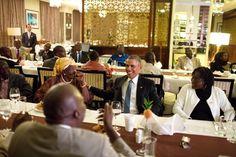 President Obama dining with his Grandmother Sarah Onyongo Obama and his sister at Café Villa Rosa in Nairobi July 24, 2015.