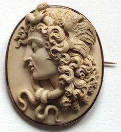Medusa Cameo, lava and 14k gold, ca 1850, Italy