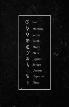 Our solar system in symbols
