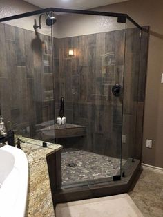 Inspiring Farmhouse Shower Tile Remodel Ideas 13 Mosaic tiles are likewise a very good flooring choice for bathrooms. They are available in a huge range of colors. Recycled glass tiles are amazingly sturdy and are beautiful to consider. On the fl… Rustic Bathrooms, Dream Bathrooms, Amazing Bathrooms, Small Bathroom, Master Bathroom, Bathroom Showers, Bathroom Ideas, Primitive Bathrooms, Budget Bathroom