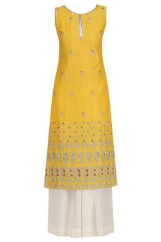 Yellow Embroidered Kurta and Khadi Palazzo Set By Kaia Indian Attire, Indian Wear, Indian Outfits, Ethnic Fashion, Indian Fashion, Embroidery Suits Design, Salwar Designs, Traditional Fashion, Types Of Dresses